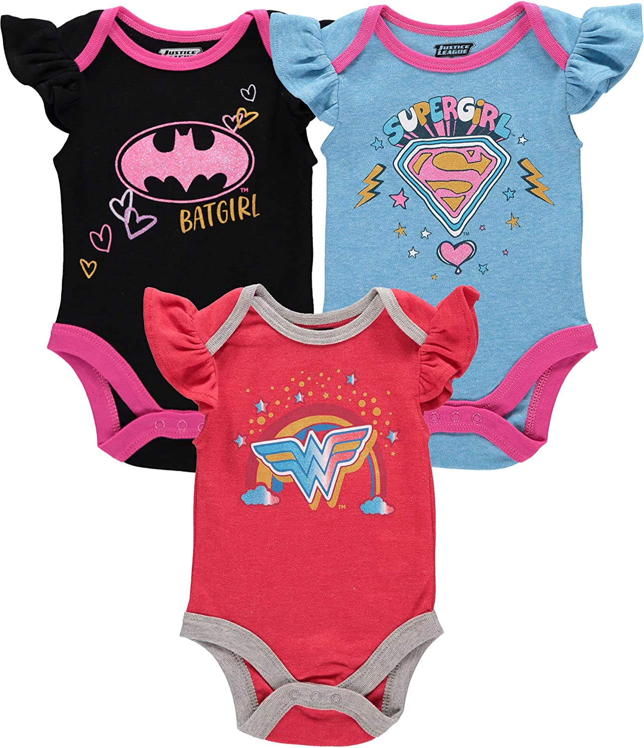 DC Comics baby-girls Justice League Multi Pack Short Sleeve Bodysuits