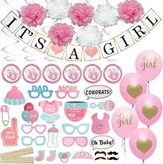 Baby Shower Decorations for Girl Set - Includes Matching 'Its A Girl' Banner & Balloons, Cute Photo Booth Props, Pink & White Flower Decor. Party Decoration All in One Bundle