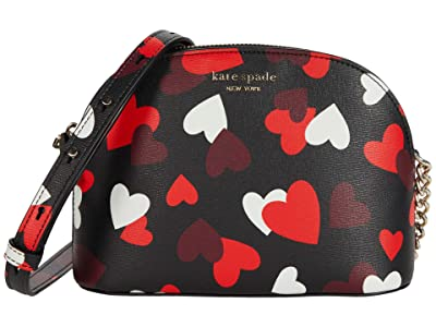 Kate Spade New York Spencer Celebration Hearts Small Dome Crossbody (Black Multi) Handbags