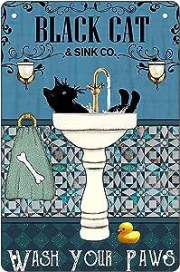 Funny Black Cat Bathroom Sign Vintage Metal Signs, 11.8 x 7.9 Inch Retro Metal Tin Sign for Home & Bathroom Wall Art Decor