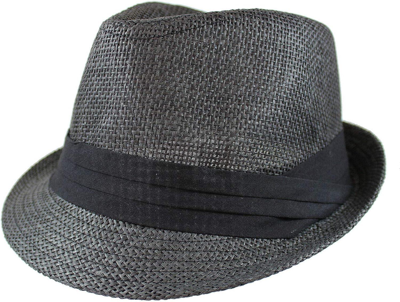 Unisex Black Summer Fedora Panama Straw Hats with Band Size S/M