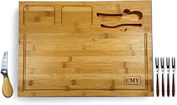 CMY COLLECTIONS Bamboo Cheese Board and Knife Set