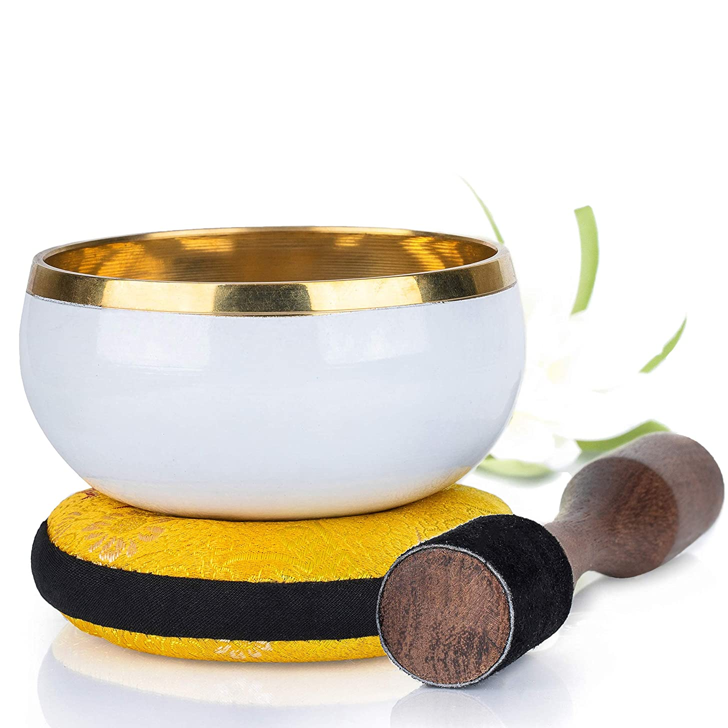 Silent Mind ~ Tibetan Singing Bowl Set ~ Purity Design ~ With Dual Surface Mallet and Silk Cushion ~ Promotes Peace, Chakra Healing, and Mindfulness ~ Exquisite Gift