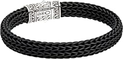Classic Chain 10.5mm Station Bracelet in Black Rubber
