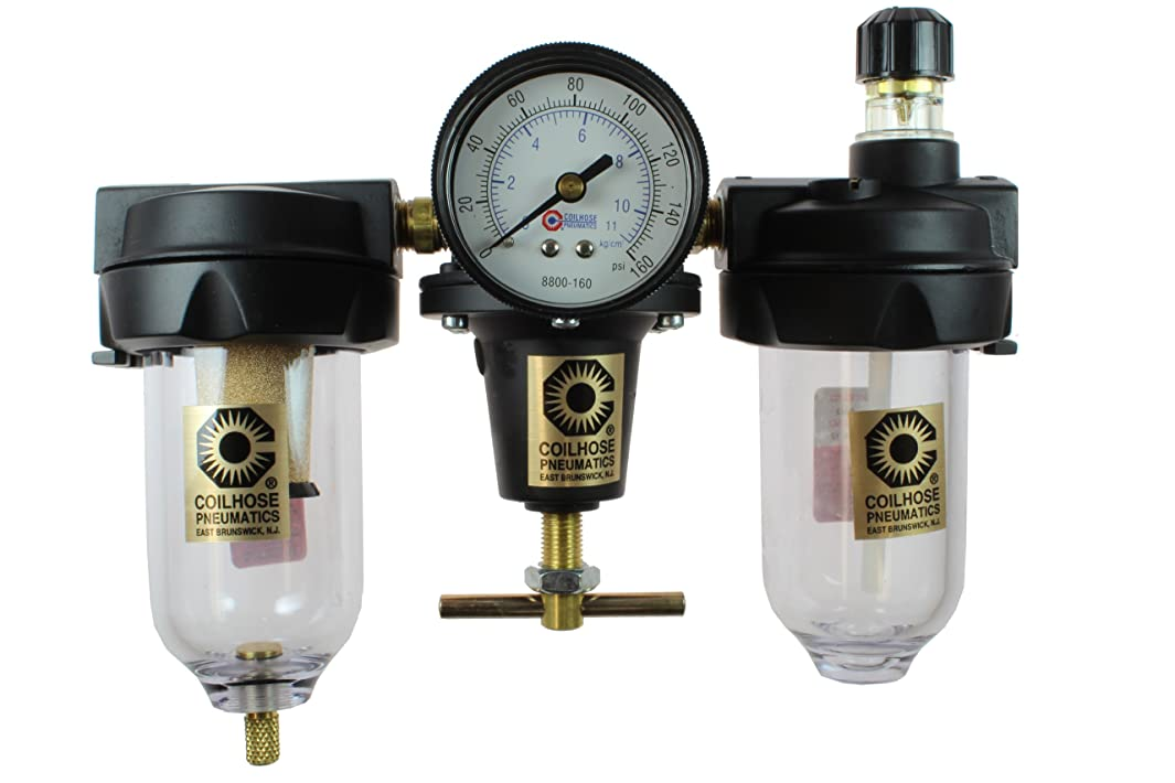 Coilhose Pneumatics 8884AAG Heavy Duty Series Filter, Regulator, and Lubricator Trio Assembly, 1/2-Inch Pipe Size