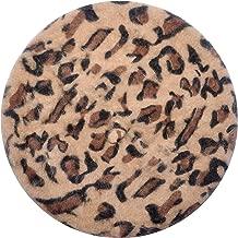 ZLYC Womens French Beret Hat Rabbit Fur Leopard Print Beret Cap
