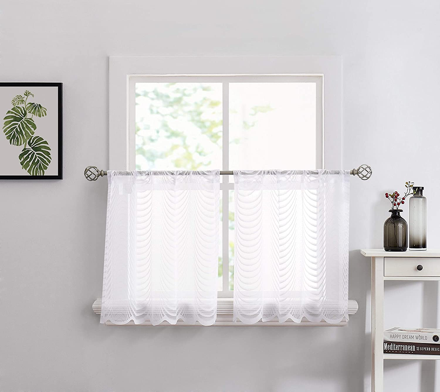 LinenZone - Ranking TOP11 Waves Design Lace Semi Two Curtains of Set T Raleigh Mall Sheer