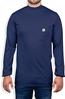 Fire Resistant 7 oz. Cotton Long Sleeve Henley - 2 FR T-Shirt Defies Melting, Dripping, After-Burning – Fire Retardant Clothing for Electricians, Welders, More by Ur Shield, Navy
