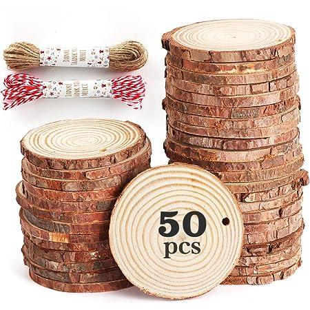 Dproptel Lot de 24 d/écorations en bois fini avec tranches de bois naturel /étiquettes cadeaux 5 cm Saint-Valentin accessoires de f/ête pendentif en bois pour d/écoration de sapin de No/ël
