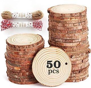 50pcs 6-7cm Tranche de Bois Naturel avec Corde de 20 mètres, Rondelles de Bois disques en Bois,Découpe Parfaite pour Le pr...