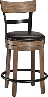 Ball & Cast Swivel Counter Stool - 24 Inch Seat Height, Light Brown
