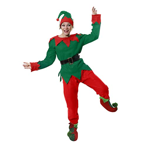 07f875ad0d ELF COSTUME CHRISTMAS FANCY DRESS CHEEKY ELF TOP + TROUSERS + BELT + HAT +  DELUXE