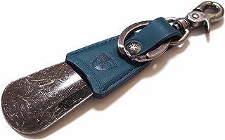 近藤 日本製 携帯 本革 真鍮 靴べら シューホーン ブルー 15cm×3.5cm DONOK(ダナック) ステリーナ