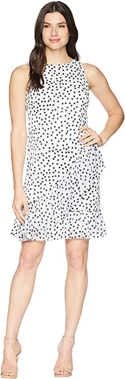 B592 Burnout Dot Georgette Sabramay Sleeveless Day Dress
