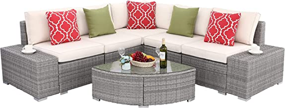 Do4U 6 PCs Outdoor Patio PE Rattan Wicker Sofa Sectional Furniture Set Conversation Set- Thick Seat Cushions & Glass Coffee Table| Patio, Backyard, Pool| Steel Frame (Beige)