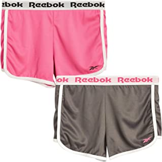 Reebok Girls' Running Shorts -Athletic Gym Dolphin Shorts for Running and Yoga (2 Pack)