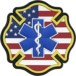 LEGEEON EMS EMT Fire Fighter Department USA American Flag Rescue Firemen Paramedic Medic Morale PVC Hook-and-Loop P