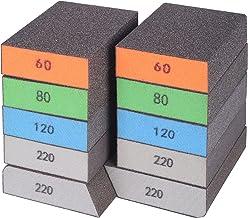 BOSHCRAFT 10 Pack Sanding Sponge, Washable and Reusable Sanding Block for Wood Drywall Metal Glasses Coarse/Medium/Fine/Su...