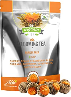 Blooming Tea - 7 Organic All Natural Flavors of Flowering Tea - Organic Calendula Flowers and Green Tea Leaves in Hand Sew...