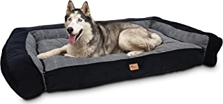 Superior Pet Goods Scooby Corduroy Check Dog Sofa, Grey/Navy, Small
