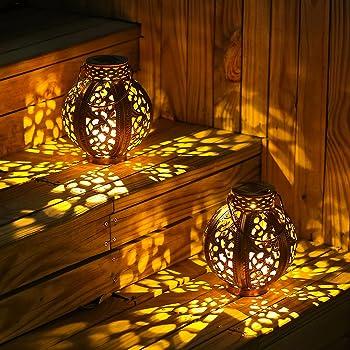 2-Pack Outdoor Waterproof Decorative Solar Lanterns (Bronze)