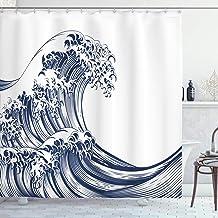 ABAKUHAUS Japońska fala zasłona prysznicowa, orientalna vintage fala monochromatyczna inspirowana kanagawą sztuka antyczn...