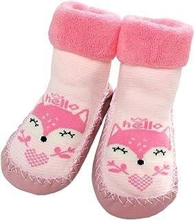 Baby Boys Girls Winter Slipper Socks Anti-Slip Blue Striped Fox 3-24 Months