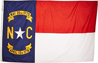 Annin Flagmakers Model 143970 North Carolina State Flag 4x6 ft. Nylon SolarGuard Nyl-Glo 100% Made in USA to Official State Design Specifications.