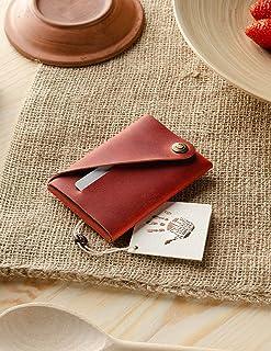 Portafoglio minimalista in pelle/portacarte | Fragola Red portapacchi Crazy Horse in pelle, vintage, portamonete di qualit...