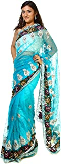 Exotic India Blue-Atoll Designer Sari with Silver Thread Work, Beads and Embroidered Flowers
