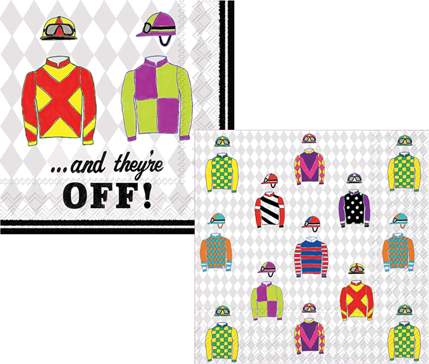 Horse Racing Derby Themed Cocktail Napkins. Bundle Includes 40 Paper Napkins in 2 Designs