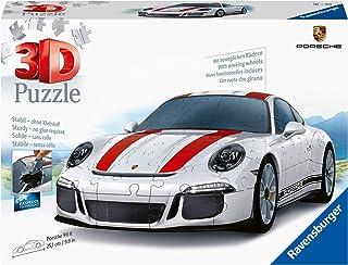 Ravensburger 12528-3D Pussel fordon Porsche 911 R - 108 bitar - tredimensionell bygglädje & inget lim behövs för vuxna och...