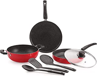 Nirlon Ruby Granite 7-Piece Aluminium Non Stick Cookware Gift Set with Glass Lid & 3 Spoon (Color-Red)
