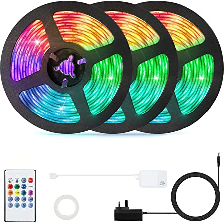 LED Strip Lights with Remote 15M,OxyLED 50ft Strip Lights 450LED Flexible RGB 5050 Colour Changing Room Lights,LED Strip LIghts with 20 Keys IR Remote Controller,LED Lights for Bedroom,Home,TV,Kitchen,Bar,Party