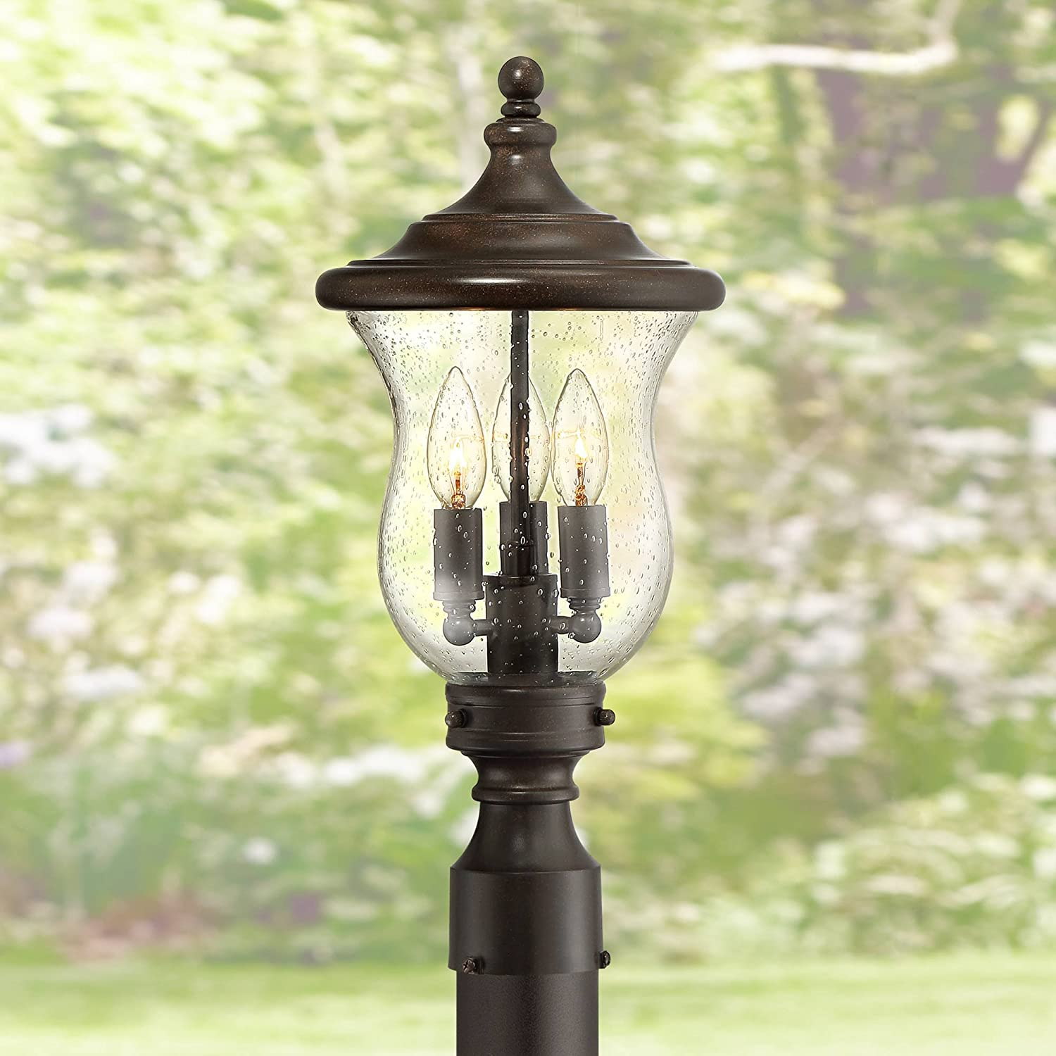 Carriage Traditional Outdoor Post Light Bronze LED Fixture C 19