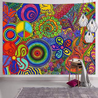 Hexagram Tie Dye Tapestry Wall Hanging Psychedelic Wall Tapestry Hippie Trippy Tapestries for Bedroom Living Room Dorm