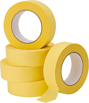 Lichamp 5-Pack Automotive Refinish Masking Tape Yellow 36mm x 55m, Cars Vehicles Auto Body Paint Tape, Automotive Painters Tape Bulk Set 1.4-inch x 180-foot x 5 Rolls: image