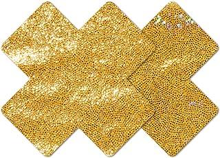 Nippies Style Gold Sparkle Cross Waterproof Self Adhesive Nipple Cover Pasties