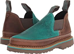 Teal Embossed/Brown