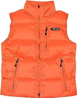 RLX by Ralph Lauren Men Fashion Logo Down Jacket Vest (M, Orange)
