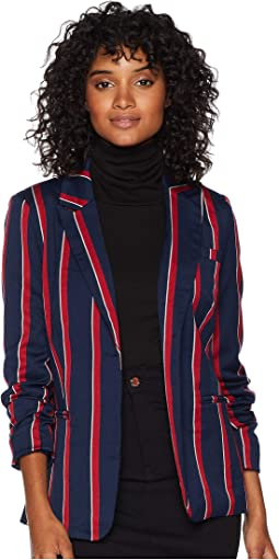Multi Stripe Lace-Up Blazer Jacket