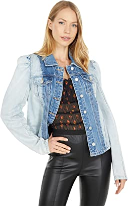 Color-Block Patchwork Puff Sleeve Denim Shirt Jacket