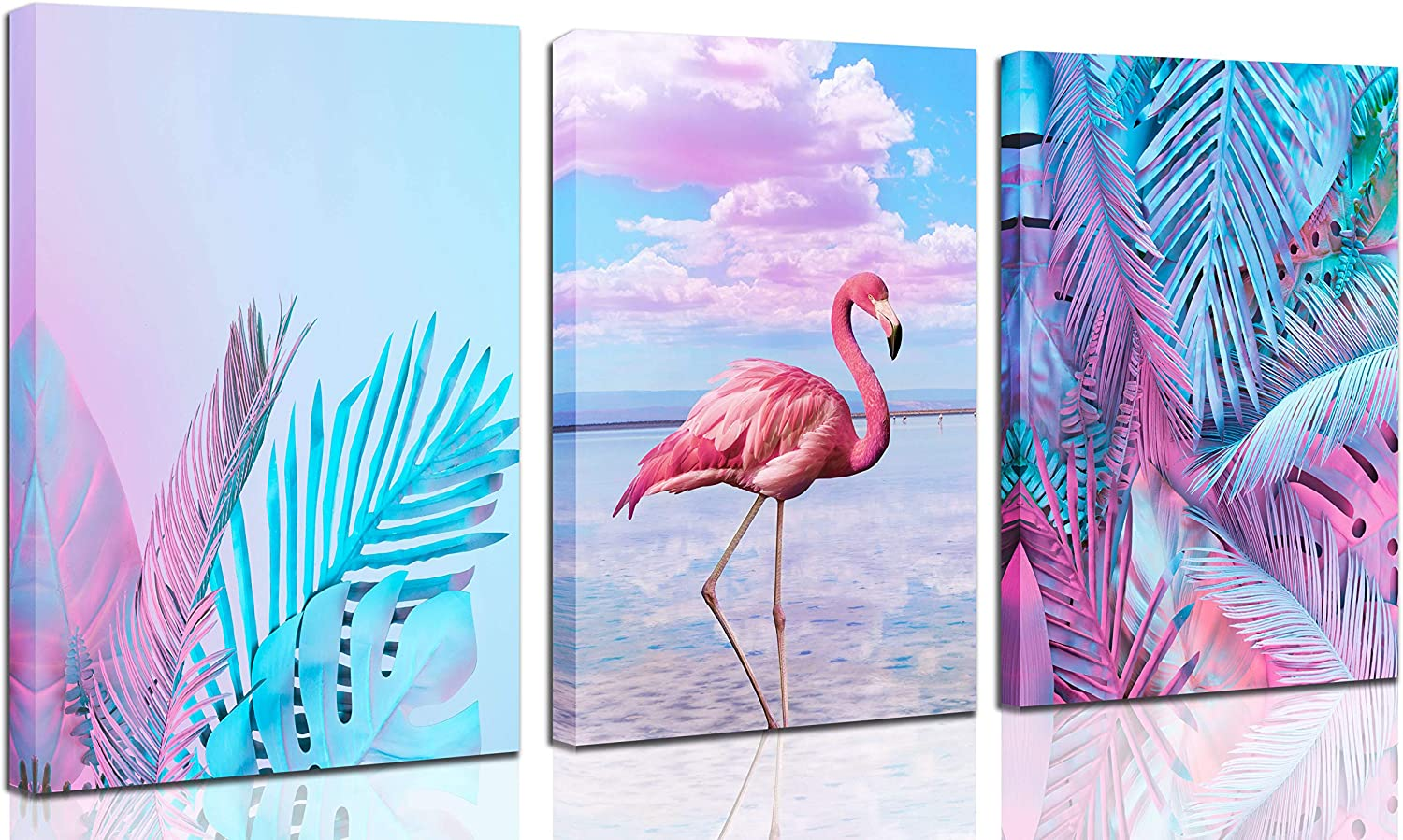 CERLMLAND 3 Panel Pink Flamingo Canvas - Wall Art for Living Room Bedroom, monsstera Shallow Greenleaf Tropical Picture,Modern-Wall-Art - Nature Picture Each 12x16inch