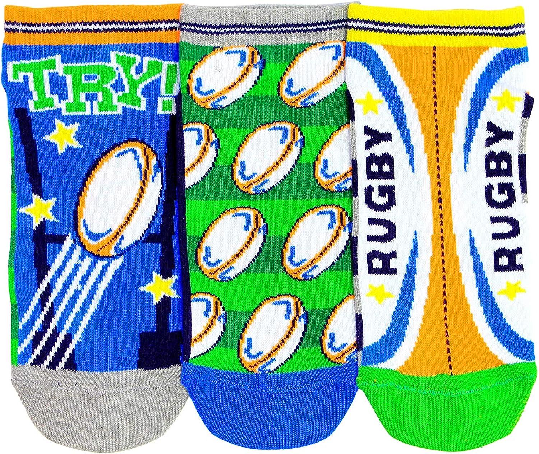 United Oddsocks - 3 Oddsocks Liners For Boys - Rugby - UK 12-5.5 EUR 30.5-38.5 US 13.5-8