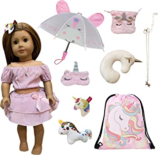 Weardoll Travel with Unicorn Play Set 10 Pieces Doll Accessories - Travel Set for 18 Inch Dolls