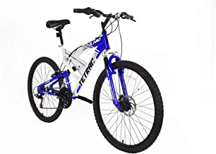 Tetran Wildland - 26 Inch Mountain Bike, Alloy Frame, Rims, and Suspensions, 21 Speed with Shimano Tourney, Unisex, White/Blue and Black/Red
