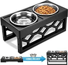 AVERYDAY Raised Dog Bowls Dog Bowls Elevated - 4 Adjustable Dog Bowl Stand with 4 Stainless Steel Dog Bowls. Perfect Dog Dish Elevated Elevated Dog Bowls for Large Dogs and Senior