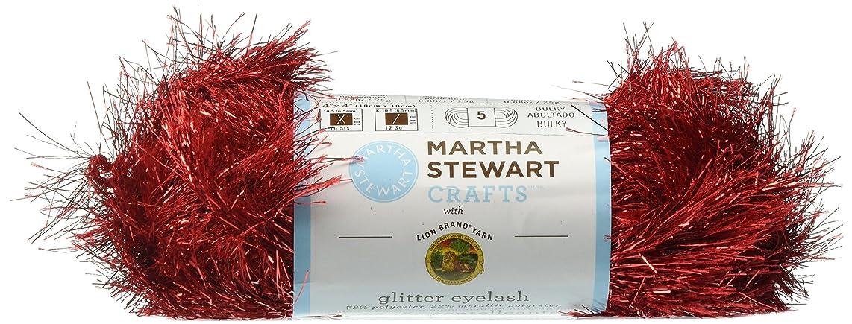 Lion Brand Yarn 5800-513 Martha Stewart Glitter Eyelash Yarn, Garnet