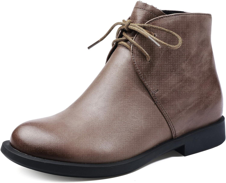 Dwarves Handmade Women's Retro Leather lace up Martens Designer Boots Black Brown