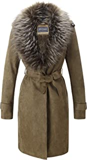 Bellivera Women's Faux Suede Long Jacket, Lapel Outwear Trench Coat Cardigan with Detachable Faux Fur Collar for Winter